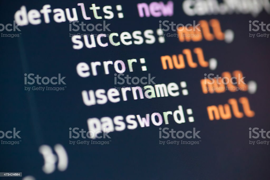 Username And Password Variables In Javascript Stock Photo