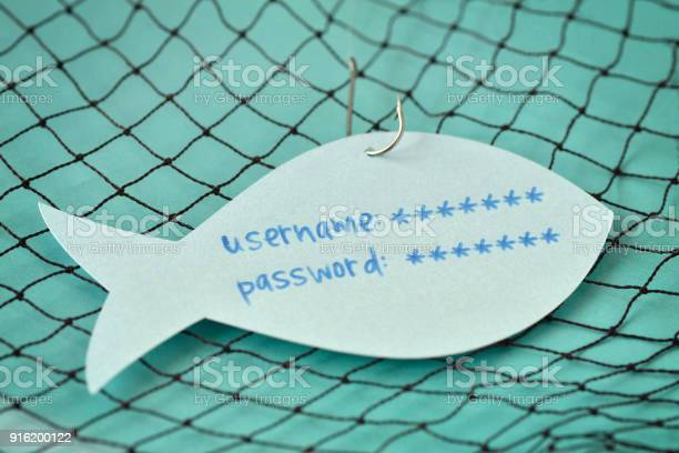 Username And Password Written On A Paper Note In The Shape Of A Fish Attached To A Hook Phishing And Internet Security Concept - Fotografie stock e altre immagini di Accesso al sistema