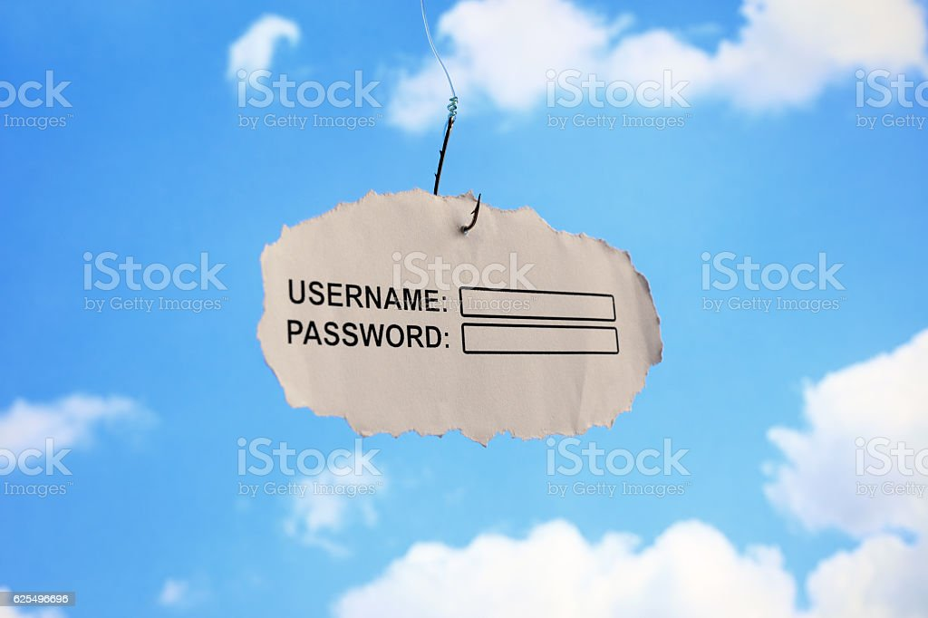 Username login and password phishing stock photo