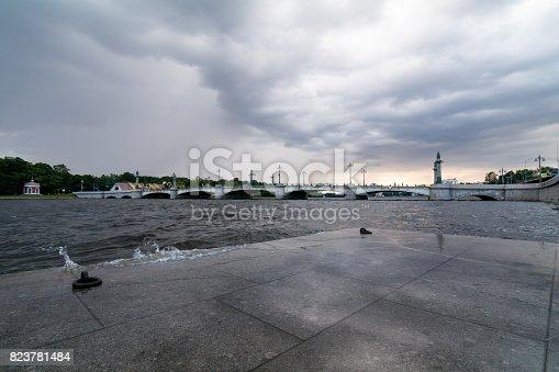 Ushakovsky Bridge in on a cloudy day, St. Petersburg, Russia