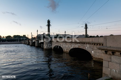 Ushakovsky Bridge in the evening, St. Petersburg, Russia
