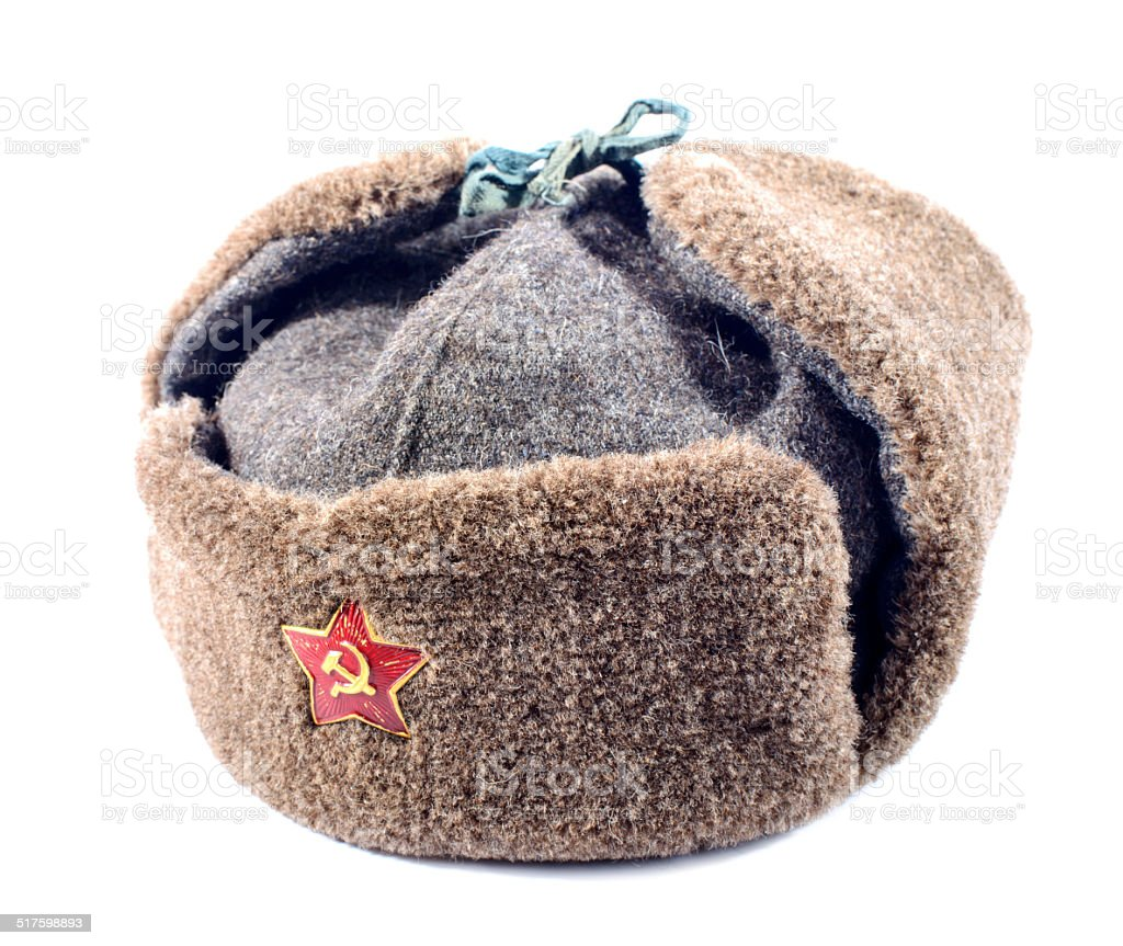 Ushanka fur hat of the Soviet army stock photo