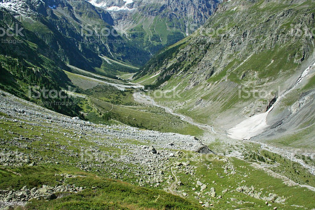 Ushaped Glacier Valley In The Alps Stock Photo - Download Image Now