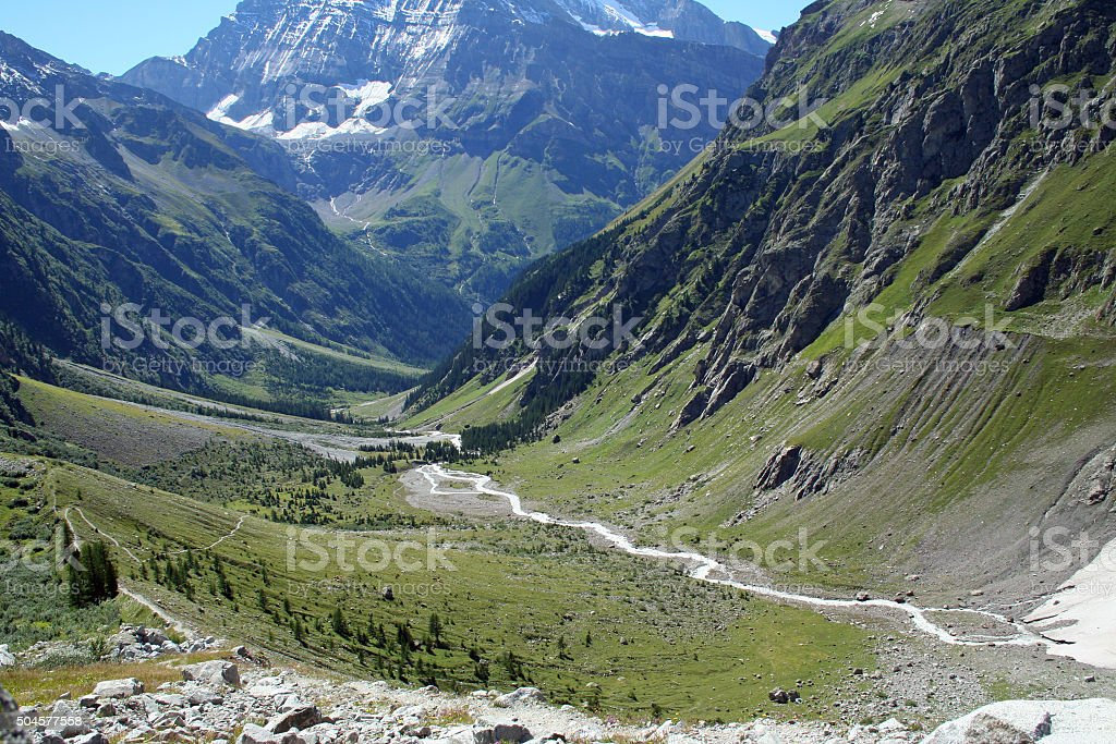 Ushaped Glacier Valley In The Alps Stock Photo & More