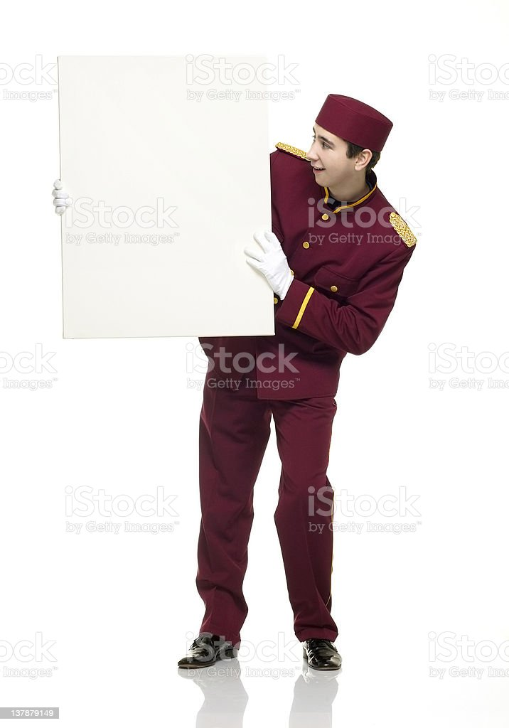 Usher holds up a white panel stock photo