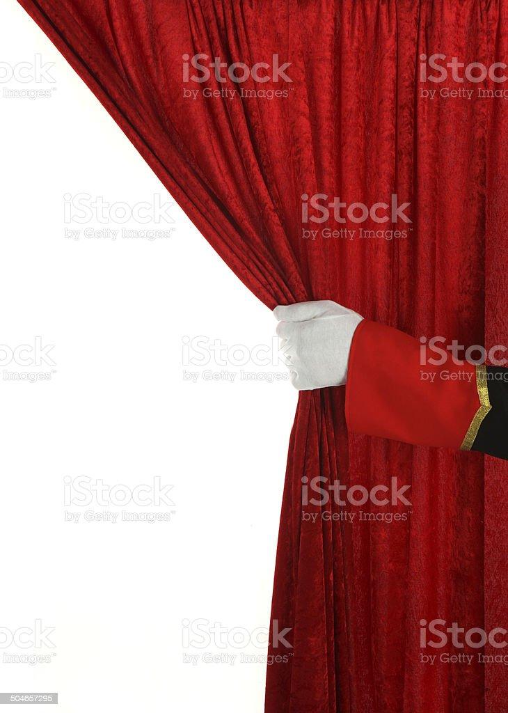 Hospédate de apertura de la cortina de terciopelo rojo - foto de stock