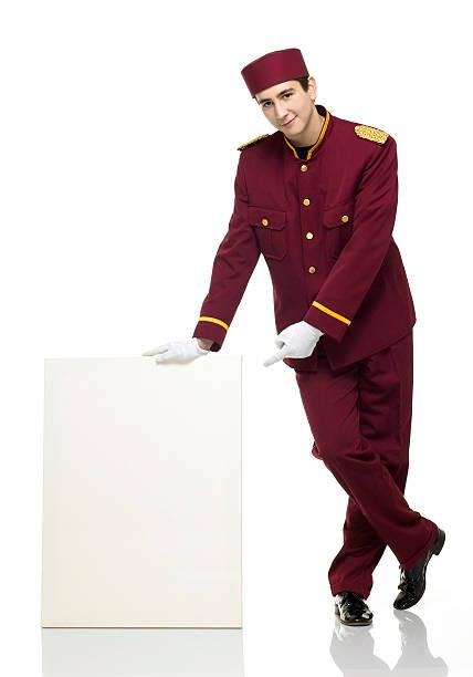 Usher with white panel besides him stock photo