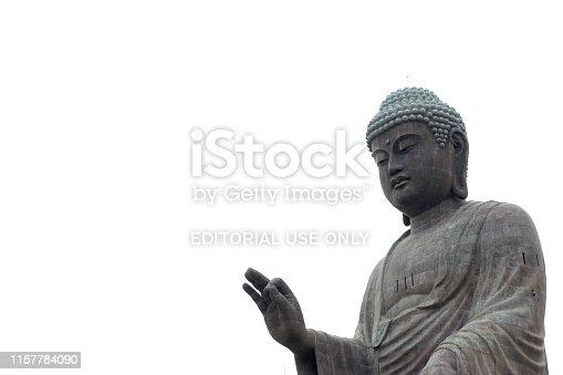 Ushiku, Japan - May 28, 2019: The Great Buddha Ushiku Daibutsu statue is loacated Ibaraki Prefecture, Japan.