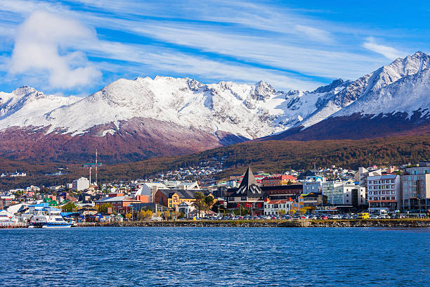 Ushuaia aerial view, Argentina Ushuaia aerial view. Ushuaia is the capital of Tierra del Fuego province in Argentina. Argentina stock pictures, royalty-free photos & images