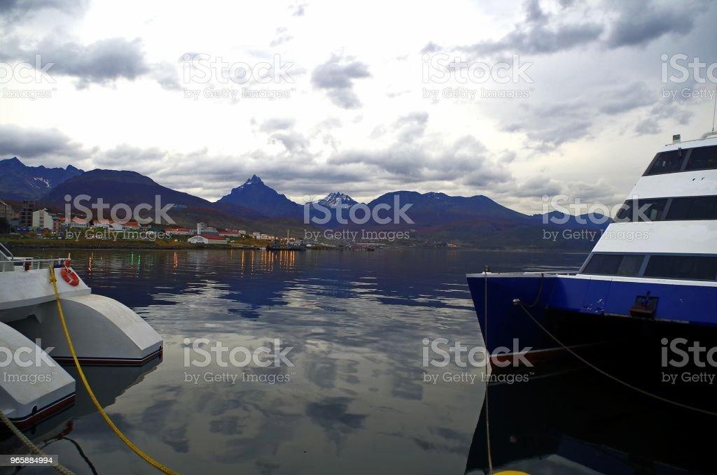 Ushuaia. The capital of Tierra del Fuego, Antarctica and South Atlantic Islands Province, Argentina. - Royalty-free Ao Ar Livre Foto de stock