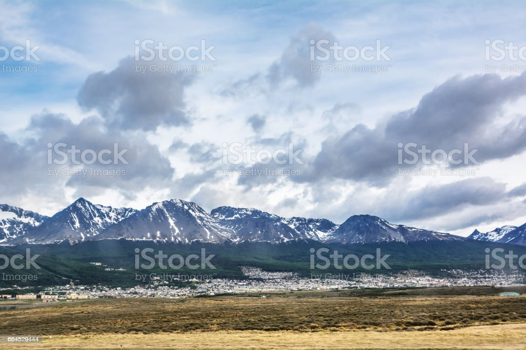Ushuaia viewed from airport (Argentina) royalty-free stock photo