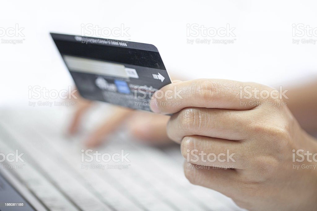 Using a credit card. stock photo