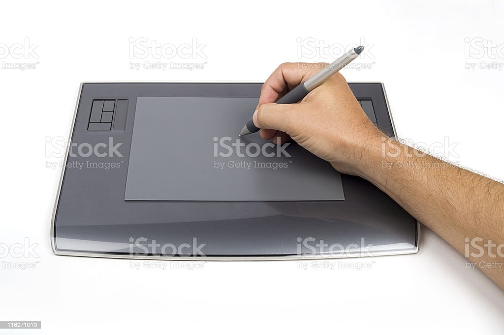 Using a digital graphic tablet stock photo
