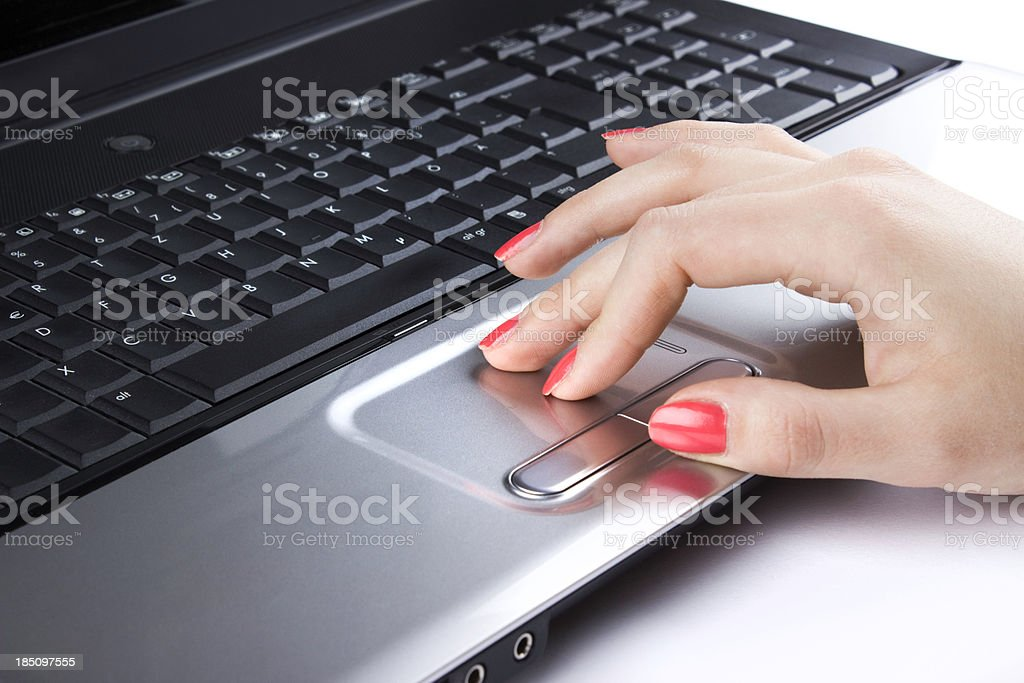 Using a laptop stock photo