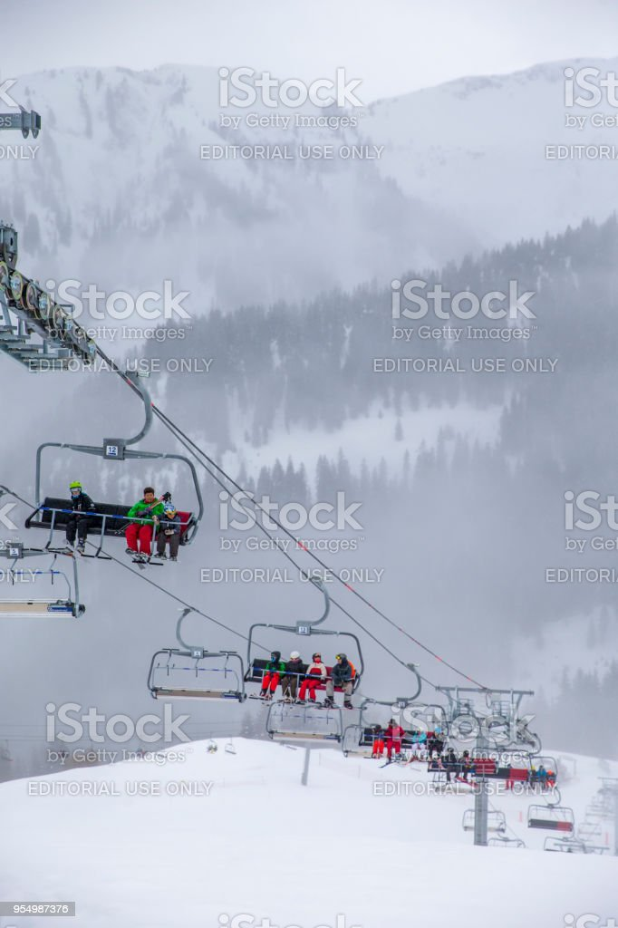 Using a Ski Lift in Samoens, France stock photo