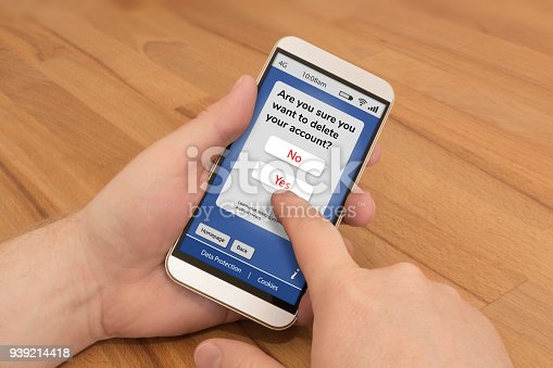 istock Using a smartphone to delete an online account 939214418