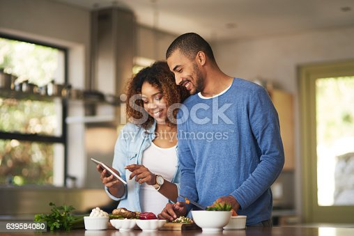 istock Using a step by step online recipe 639584080