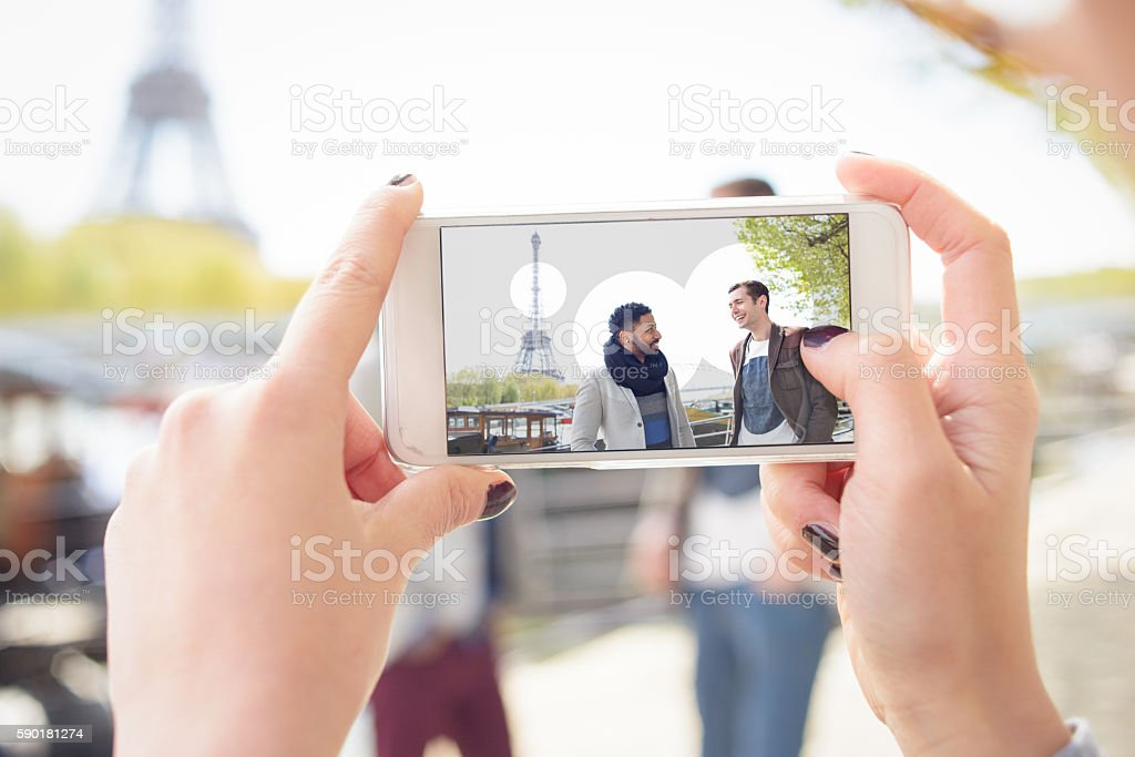 Using an Augmented Reality Application on Smart Phone Concept stock photo