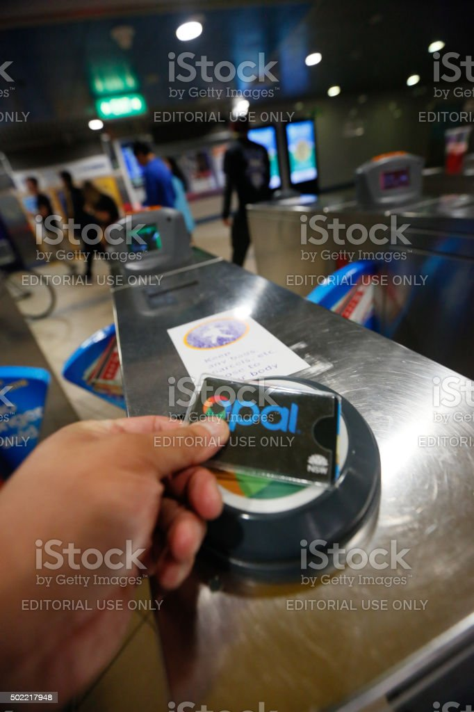 Using an opal card in Sydney's Mass Transit System stock photo