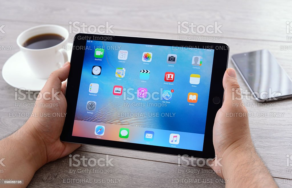 Using Apple iPad 2 stock photo