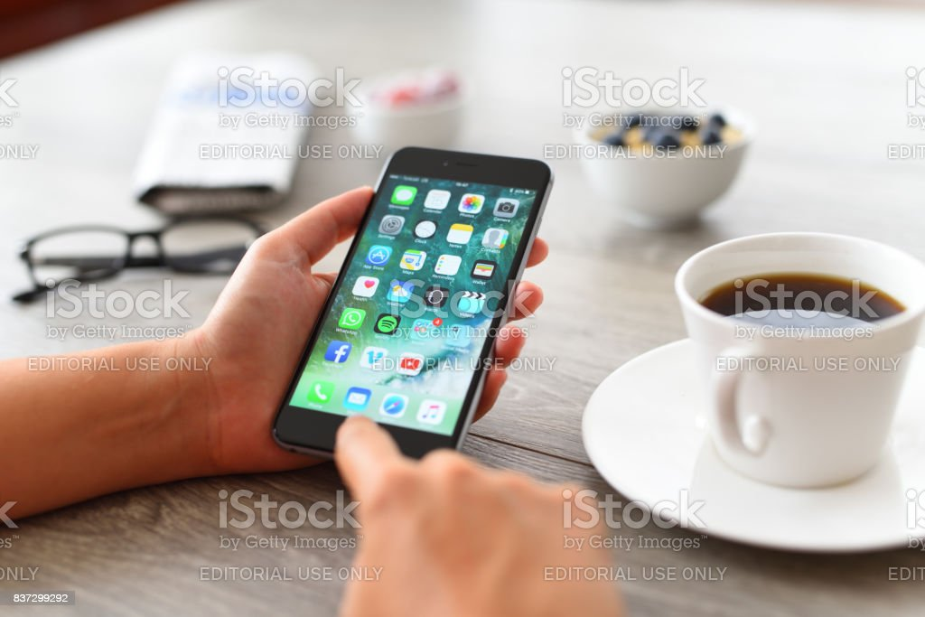 Using Apple iPhone 6 stock photo