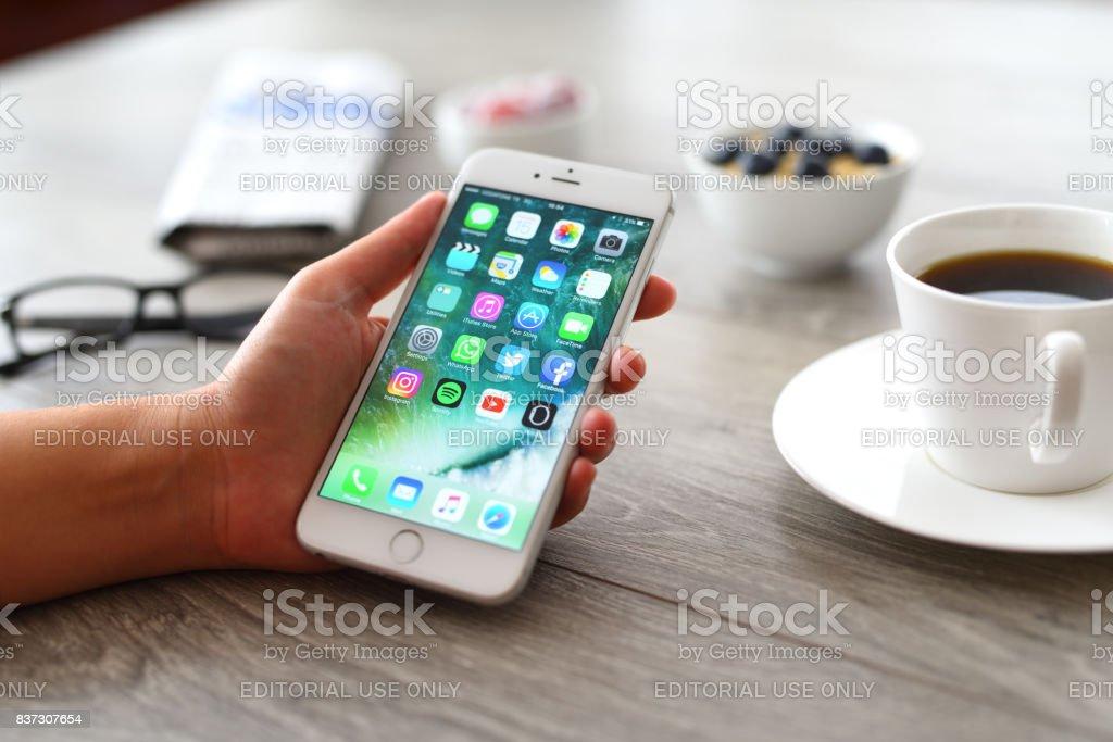 Using Apple iPhone 6 stock photo
