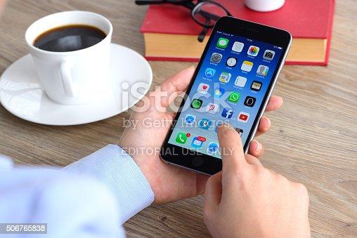 istock Using Apple iPhone smart phone 506765838