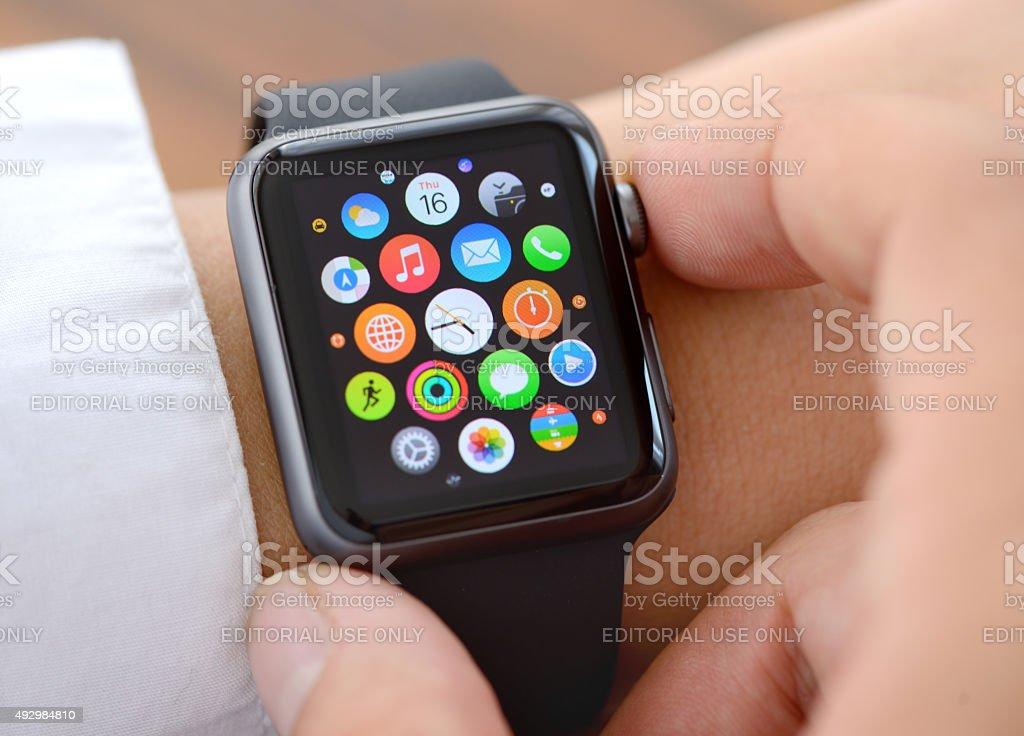 Using Apple Watch close up stock photo