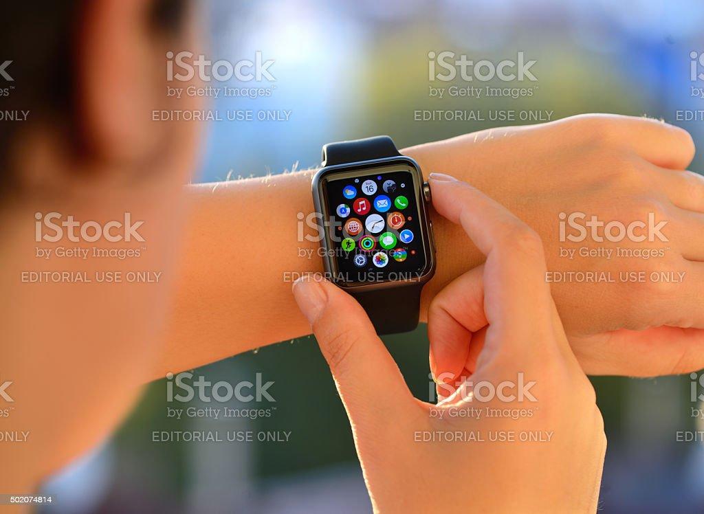 Using Apple Watch Sport stock photo