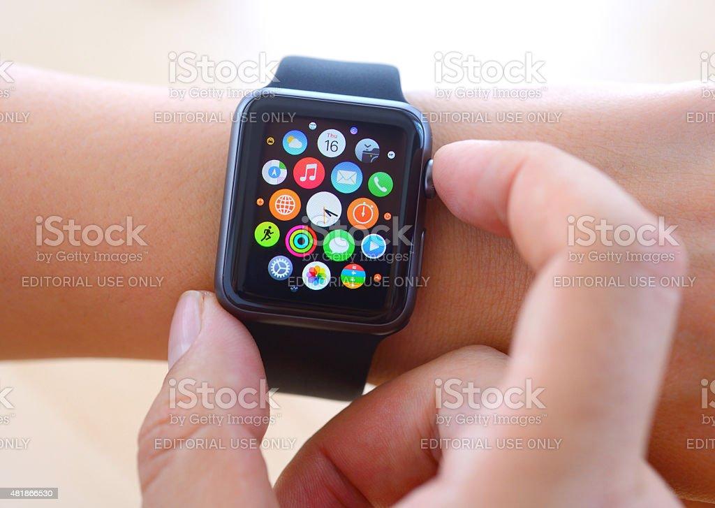 Using Black Apple Watch Sport stock photo