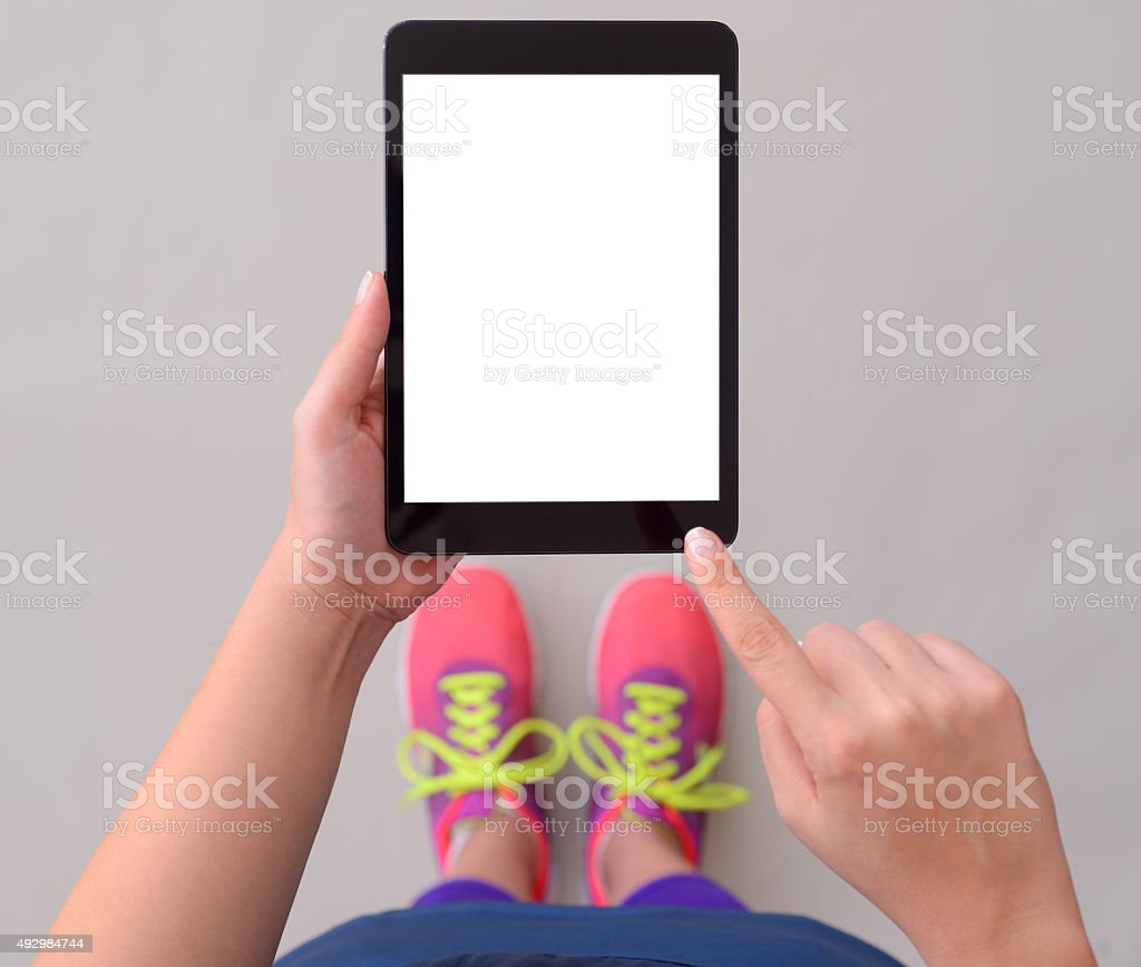 Using blank screen tablet pc stock photo