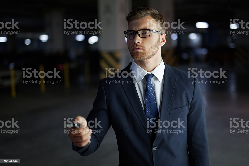 Using car remote key stock photo