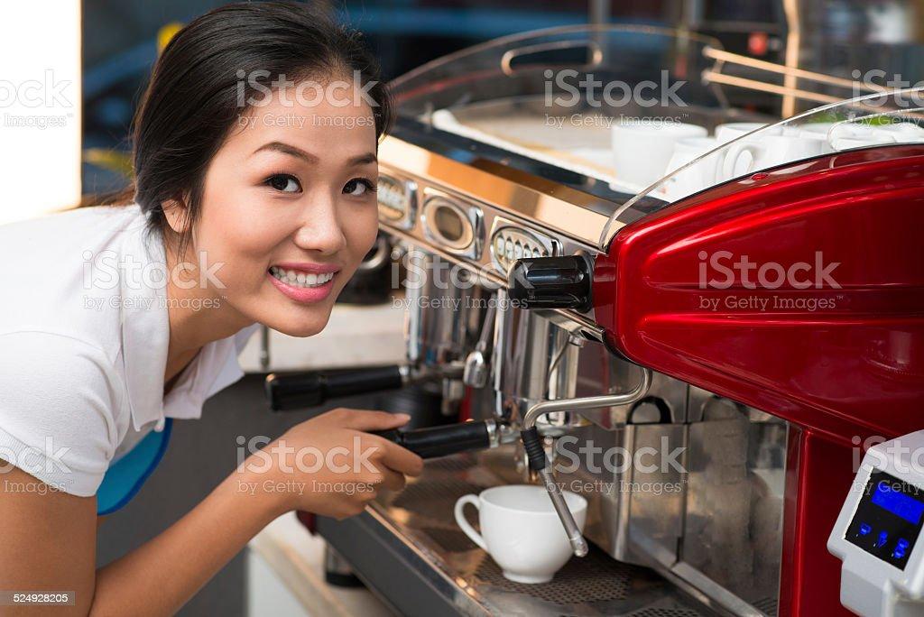 Using coffee machine stock photo