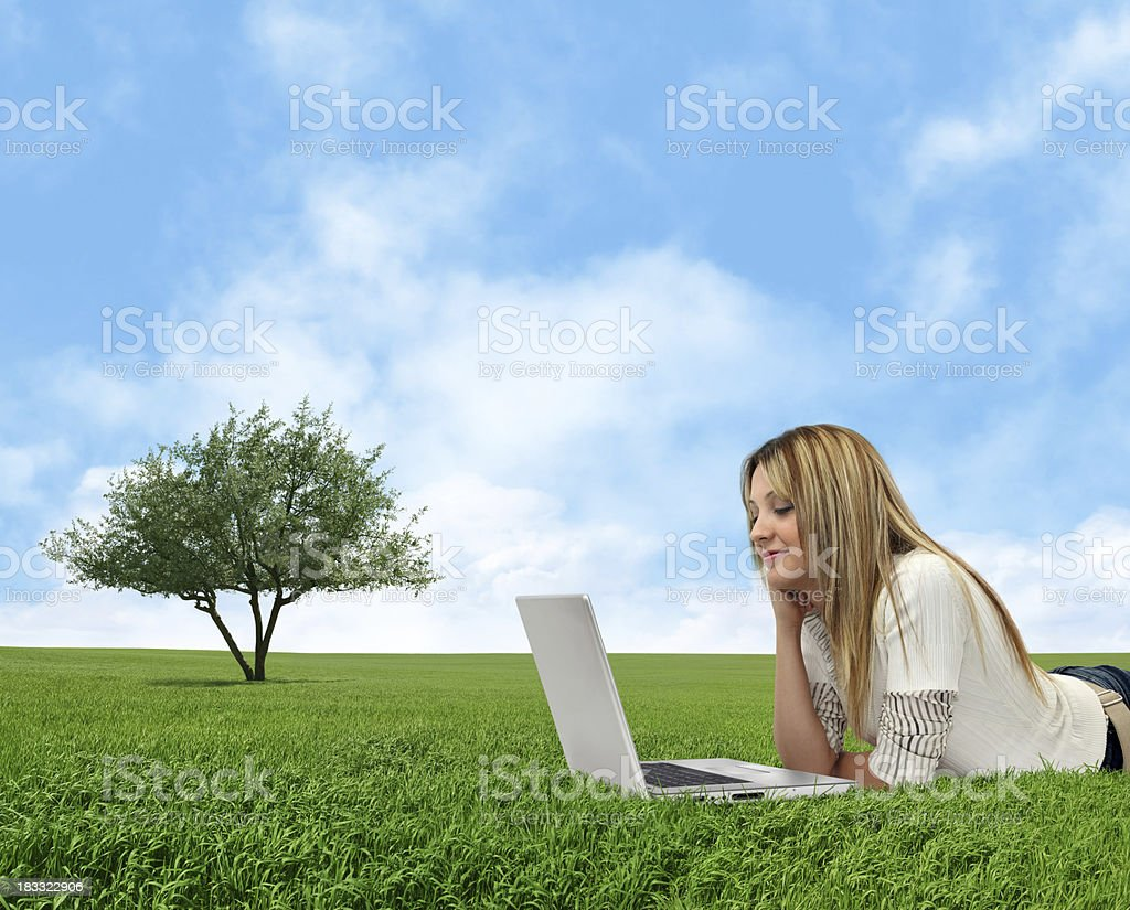 Using Computer in Nature royalty-free stock photo