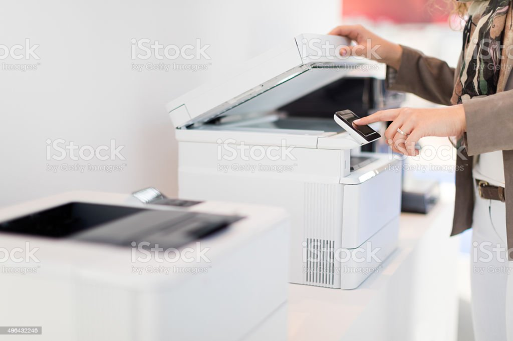 Using copy machine stock photo