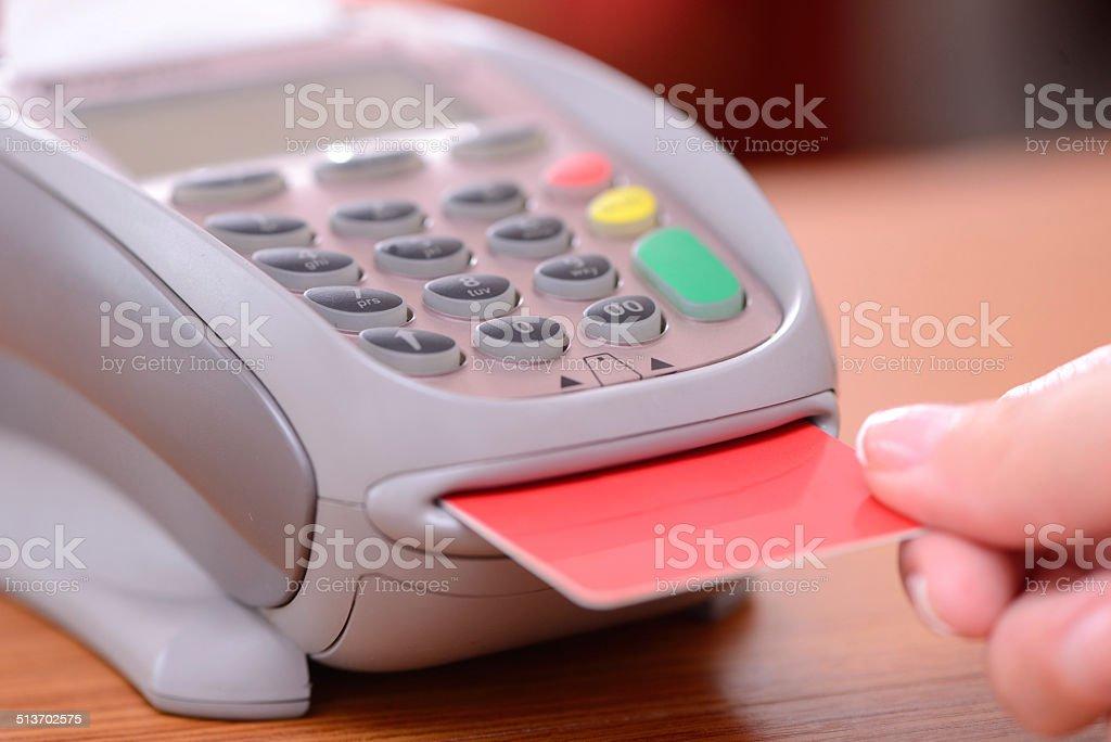 Using credit card reader stock photo