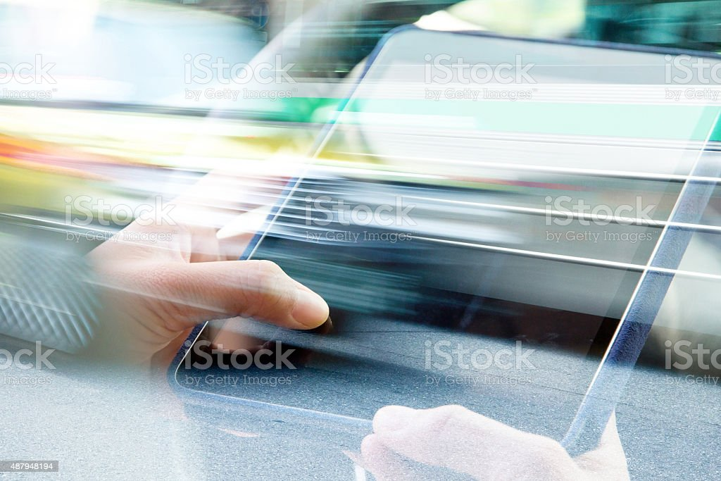 Using digital tablet double exposure stock photo