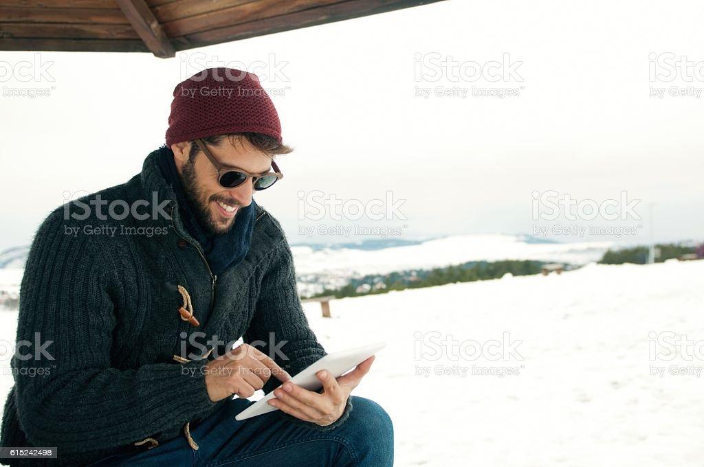 Using digital tablet. stock photo