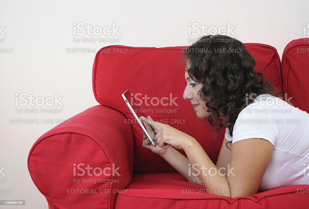 Using iPad at home royalty-free stock photo