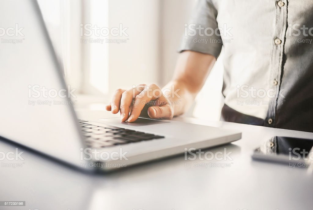 Using laptop stock photo