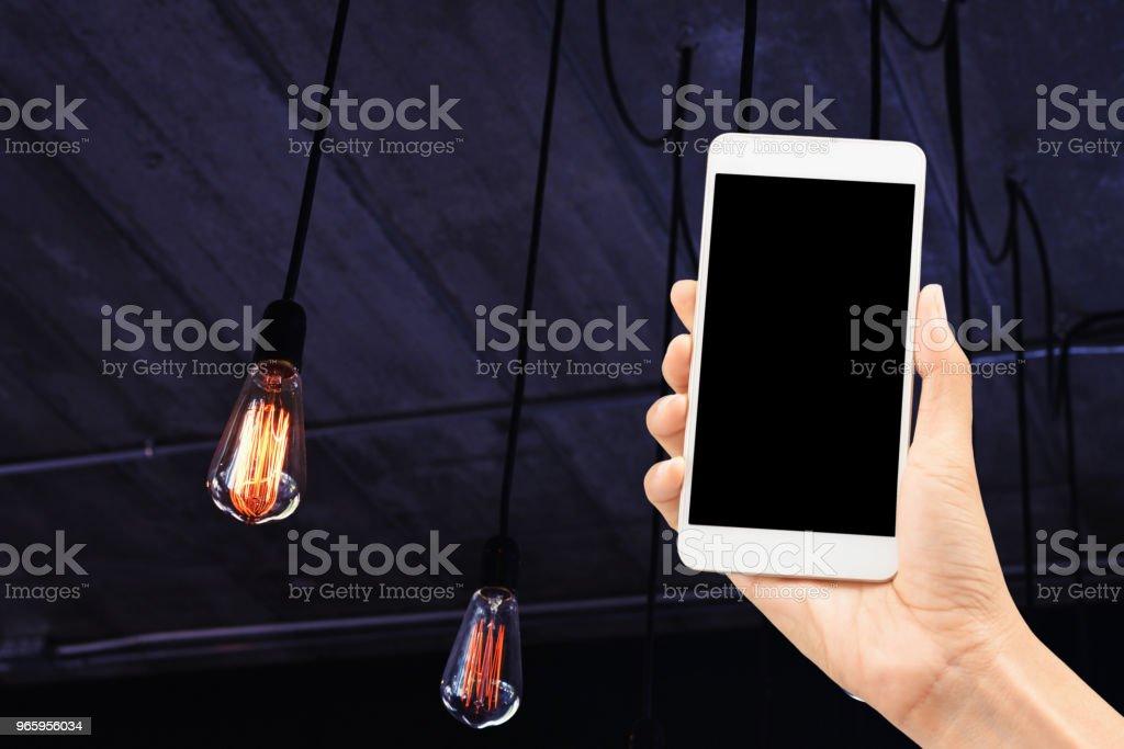 met behulp van mobiele controle licht - Royalty-free Aanraken Stockfoto