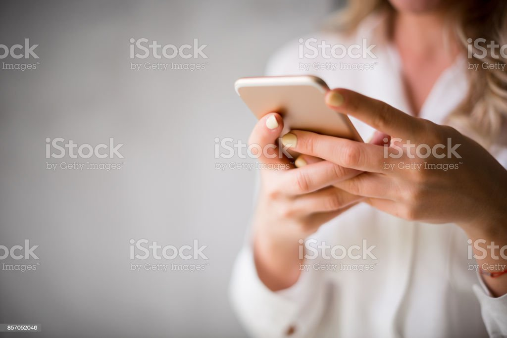 Using mobile phone stock photo