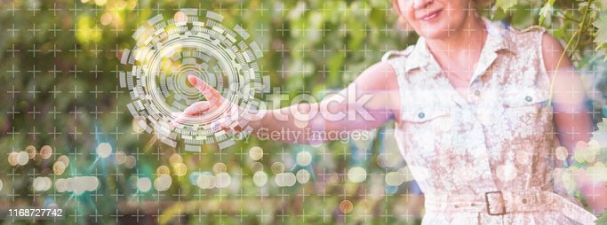 510149992 istock photo using modern technology in agriculture industry, woman push button 1168727742