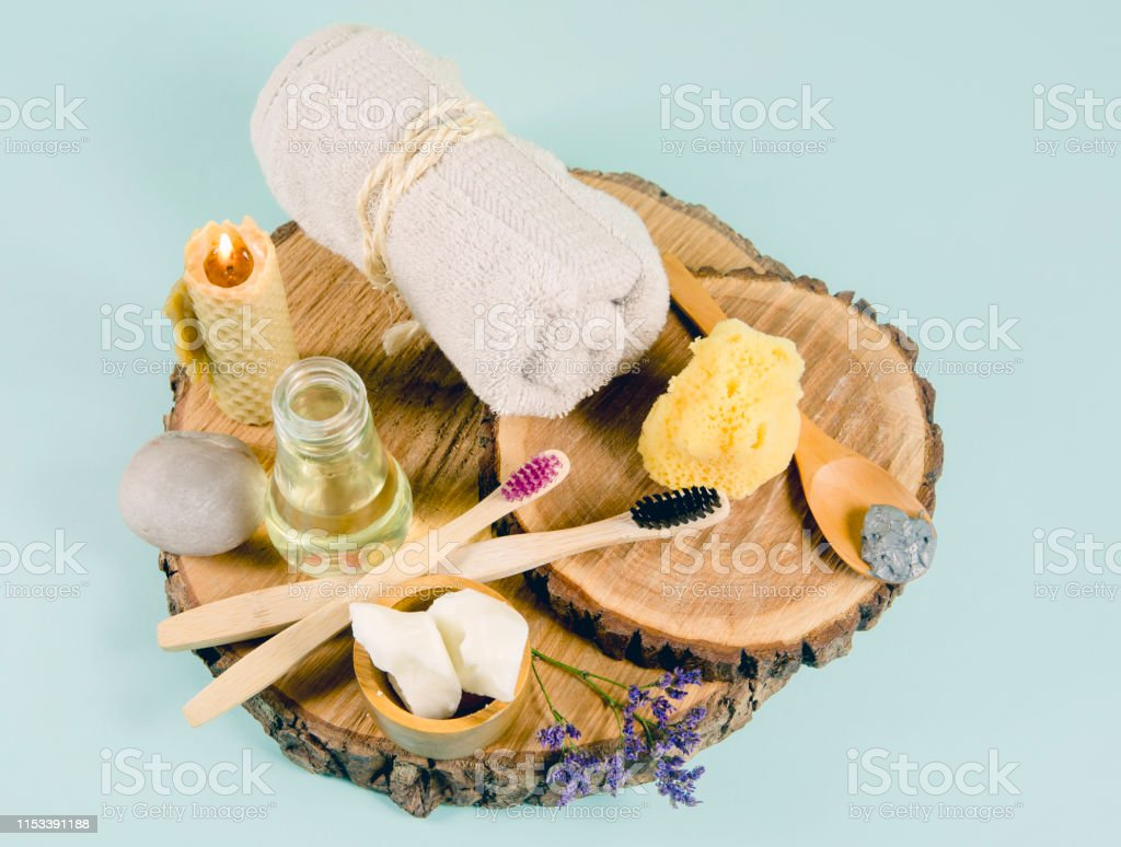 Using natural material products in home, different cosmetic products...