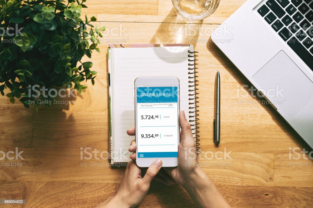 Using Online Banking Application stock photo
