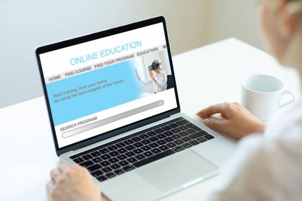 Using online education stock photo