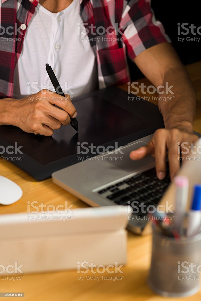 Using professional graphic tablet stock photo