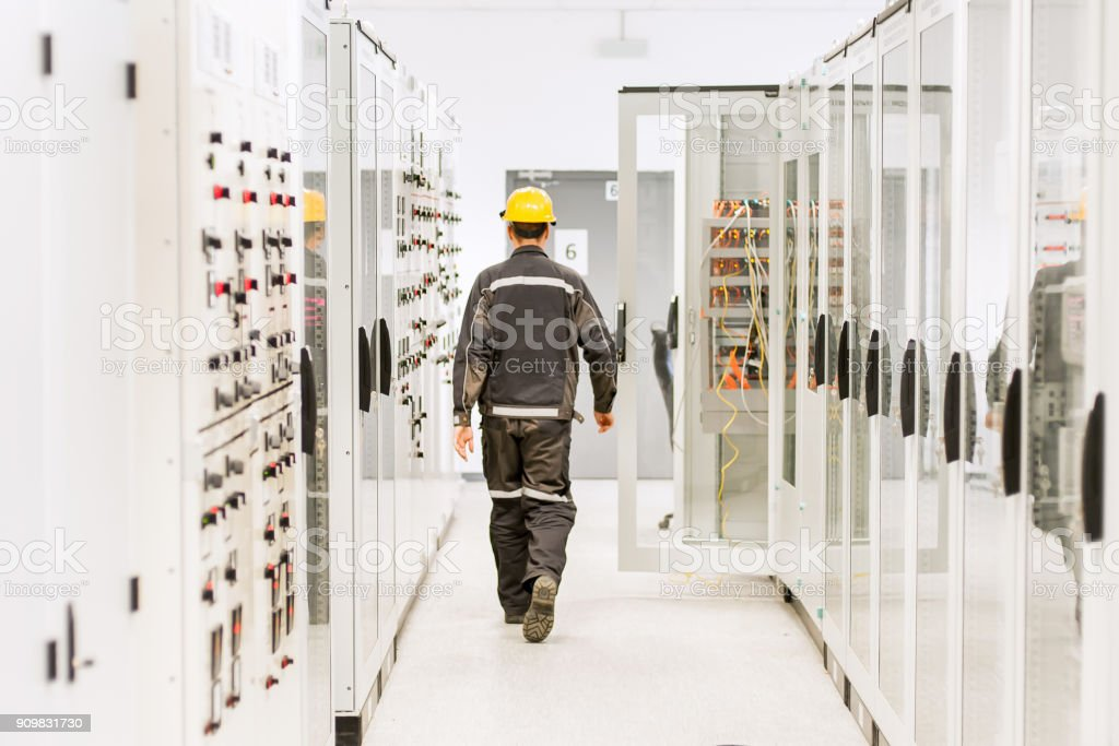 Using protective relay and medium voltage switchgear. Engineering department stock photo