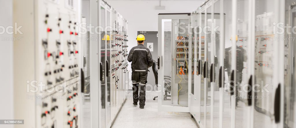 Using protective relay and medium voltage switchgear. Engineering department royalty-free stock photo