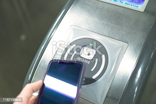 istock Using qr code on smartphone to open automatic gate machine 1152135620
